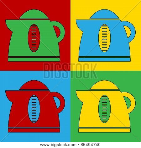 Pop Art Electric Kettle Symbol Icons.