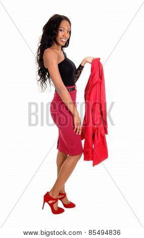 Black Woman Holding Jacket.