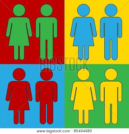 Pop Art Male And Female Symbol Icons.