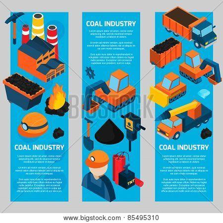 Coal Industry Isometric Banners