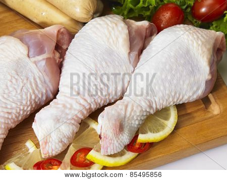 Chicken drumstick prepared for cooking