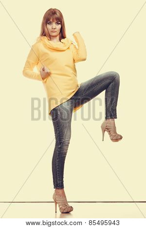 Fashionable Woman In Full Length