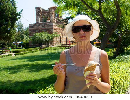 The Young Woman With One Portion Of Ice-cream