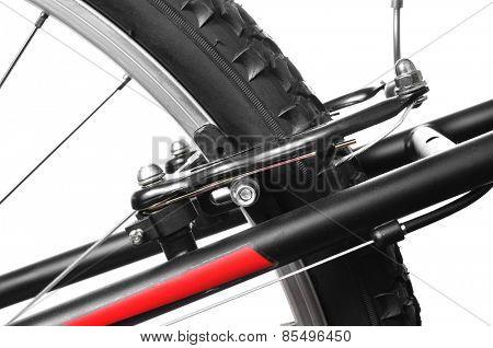 closeup of the brake of a mountain bike