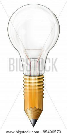 Light Bulb Morphed Into A Pencil