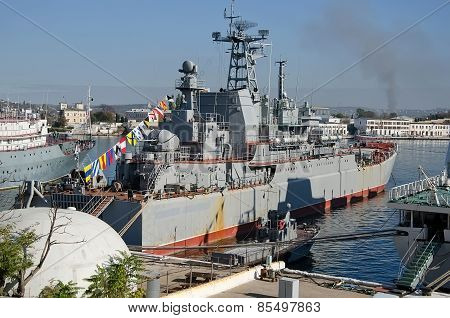 Russian Military Ship At Berth In Sevastopol