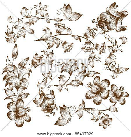 Vintage design flower elements