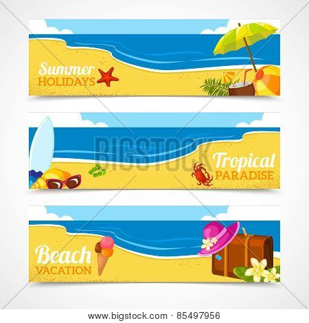 Banner set of summer beach