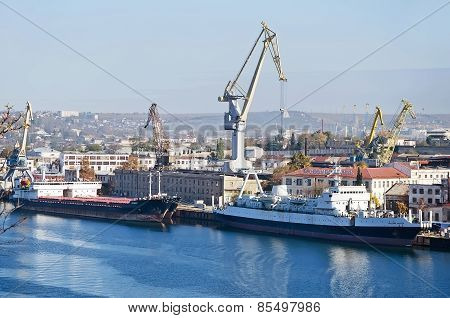 Ships At Berth Shipyard In Sevastopol