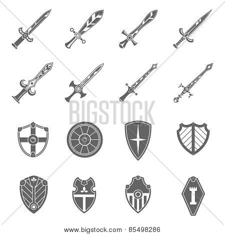 Shield swords emblems icons set
