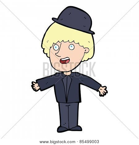 cartoon man in bowler hat