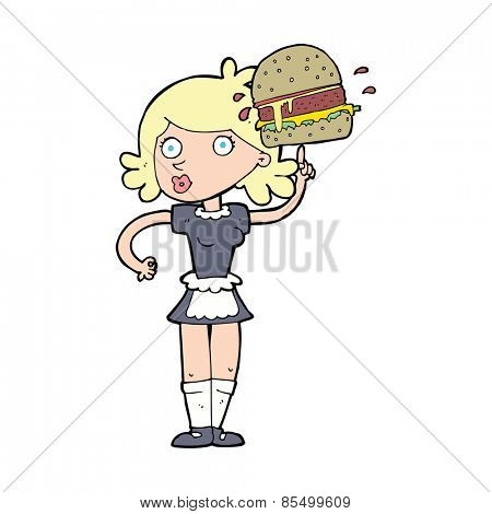 cartoon waitress with burger