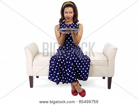 Woman with Empty Tray on Chaise