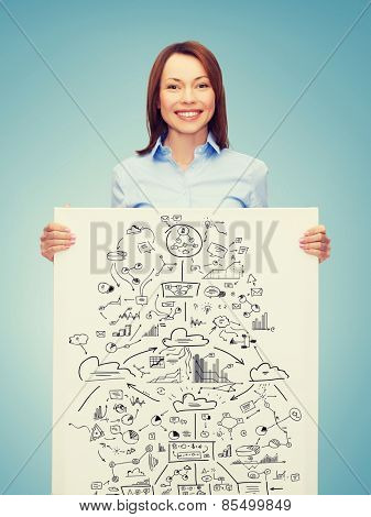 business, economics and education concept - friendly young smiling businesswoman with big plan on white board
