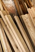 picture of wood pieces  - Pieces of wood in a woodworking shop - JPG