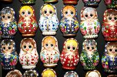 Постер, плакат: Colorful Russian Toy Dolls Matreshka Fridge Magnets