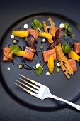 image of parsnips  - Salmon orange parsnip puree and toast on a plate - JPG