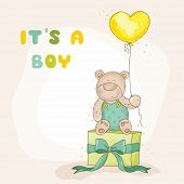 stock photo of baby bear  - Baby Shower or Arrival Card  - JPG