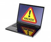 picture of computer hacker  - Hacker warning sign on laptop screen - JPG