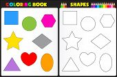 image of sketch book  - Coloring book page for kids with colorful shapes and sketches to color - JPG