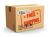 picture of free-trade  - Corrugated cardboard package box with Free Shipping text label sticker stamp isolated on white background - JPG