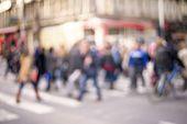 picture of pedestrians  - unrecognizable Pedestrians in modern city street - JPG