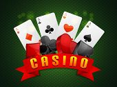 image of poker machine  - Ace playing cards with 3D symbols for Casino - JPG
