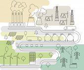 stock photo of tree lined street  - Industry and energy line art - JPG