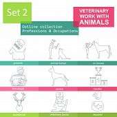picture of working animal  - Professions and occupations outline icon set - JPG