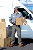 picture of postman  - Postman with parcel box - JPG