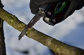 picture of survival  - survival knife held in the winter scenery with gloves - JPG