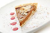 picture of pumpkin pie  - Fresh Pumpkin Pie with Berries Sauce - JPG