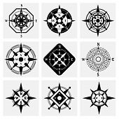 image of compass rose  - Sea navigation nautical compass wind rose black icons set isolated vector illustration - JPG