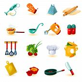 pic of cake-mixer  - Cooking utensil decorative icons set with mixer knife bowl isolated vector illustration - JPG