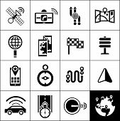 picture of gps navigation  - Navigation icons black set with satellite gps navigator maps routes isolated vector illustration - JPG