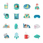 picture of sweet dreams  - Sleep time flat icons set with alarm clock moon dreaming symbols isolated vector illustration - JPG
