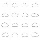 stock photo of outline  - Cloud shapes linear icons - JPG