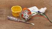 image of wire cutter  - repair of electrical installation in the house and wires - JPG