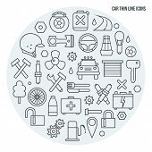 image of tuning fork  - Auto service icons set in thin line style - JPG