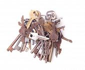 foto of pick-lock  - Big bunch of old keys isolated on white - JPG