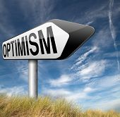 stock photo of positive thought  - optimism think positive be an optimist by having a positivity attitude that leads to a happy optimistic life and mental health   - JPG