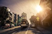stock photo of alcatraz  - Cable car driving on the street in San Francisco - JPG