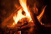 pic of bonfire  - Camping Bonfire with sparks at night time - JPG
