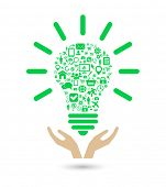pic of lightbulb  - hand support lightbulb social media green concept - JPG