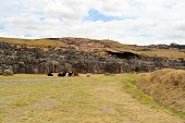 stock photo of conquistadors  - Ancient Inca fortress Saksaywaman is a military fortification used against the Spanish conquistadores near Cusco in Sacred Valley - JPG