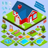 stock photo of landscape architecture  - Landscape design isometric with building elements swimming pool trees and flowers vector illustration - JPG
