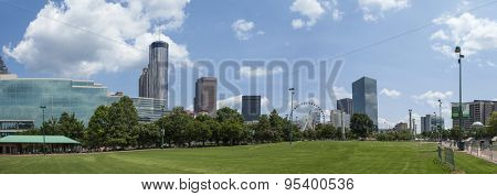 180 degree panorama of Centennial Olympic Park in Atlanta, Georgia