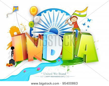 Glossy 3D text India in national tricolor with cute boy holding flag, flying balloons and kite on Ashoka Wheel decorated background for Indian Independence Day celebration.