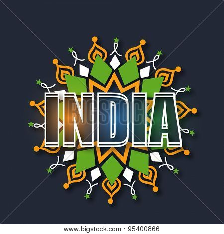 Shiny text India on tricolor floral design decorated background, Elegant greeting card for Indian Independence Day celebration.