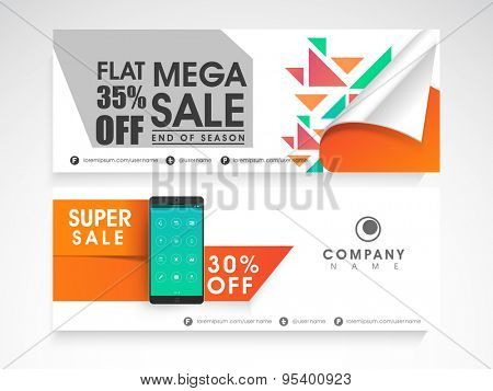 Sale website header or banner set with 35% discount offer and smartphone.